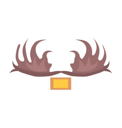 Moose antlers isolated cartoon style vector