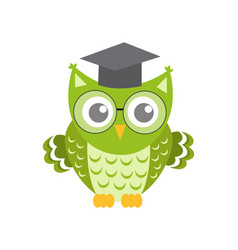 Owl in glasses with square academic cap icon flat vector