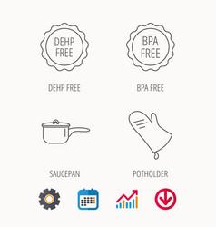 Saucepan potholder and bpa free icons vector