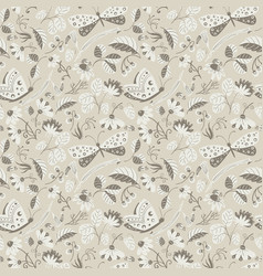 Seamless pattern with butterflies ladybugs vector