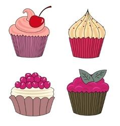 Set of cupcake vector