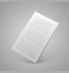 Sheet of paper with text 3d vector
