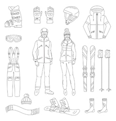Ski and snowboard icons set vector image vector image