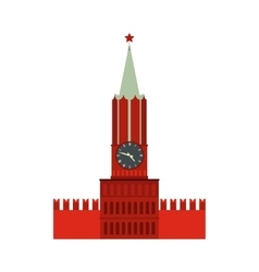 Spasskaya tower of moscow kremlin icon flat style vector