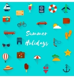 Summer holiday flat icons with long shadow vector image vector image