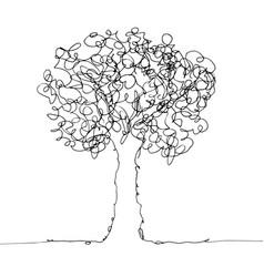 tree black on white vector image