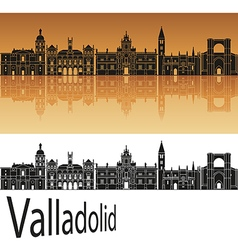 Valladolid skyline in orange vector image