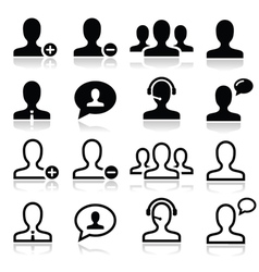 User man avatar icons set vector image