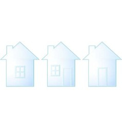 set of isolated house silhouette vector image