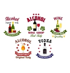 Alcohol drinks cocktail bar emblems set vector