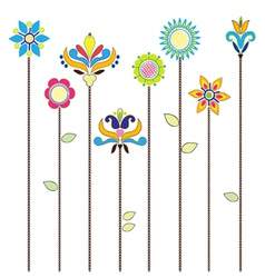 Flowers - folk elements embroidery vector