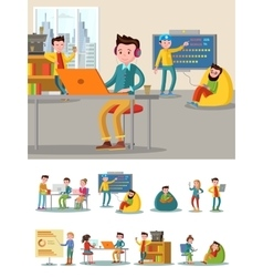 Coworking center flat composition vector