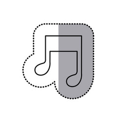 Monochrome contour sticker of musical note vector