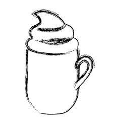 Blurred silhouette mug of cappuccino with cream vector