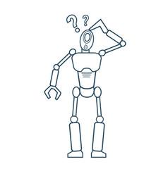 modern robot thinking futuristic mechanism thin vector image