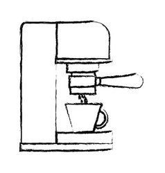 Coffee espresso machine side view monochrome vector