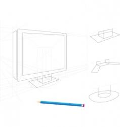 TV sketch vector image