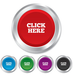 Click here sign icon press button vector