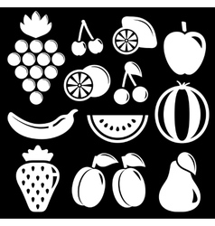 Set white fruit silhouette vector