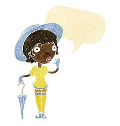 Cartoon woman in summer hat waving with speech vector