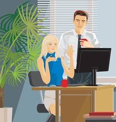 office work man and woman vector image