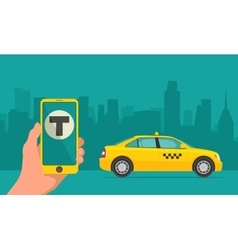 Hand phone with interface taxi on screen vector