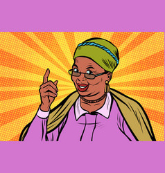 african elderly woman pointing finger up vector image