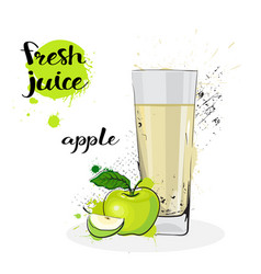 Apple juice fresh hand drawn watercolor fruit and vector