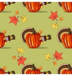 Autumn Seamless Pattern With Turkey vector image vector image