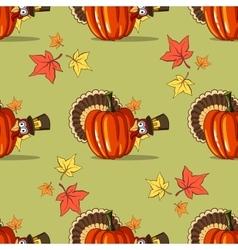Autumn Seamless Pattern With Turkey vector image