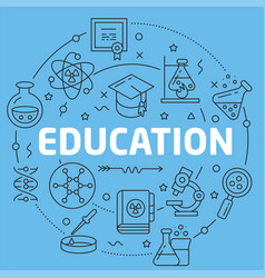 Blue line flat circle education vector