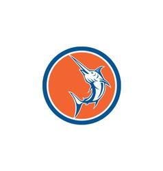Blue marlin circle cartoon vector