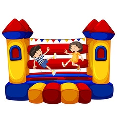 Boy and girl bouncing on the funhouse vector