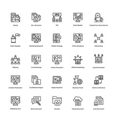 business and finance line icons 12 vector image