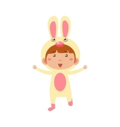 Child Wearing Costume of Bunny vector image