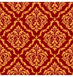 Damask seamless pattern with orange and red colors vector image