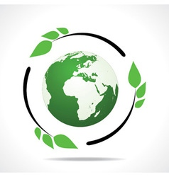 Eco friendly earth with green leaf design vector image