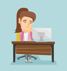 exhausted caucasian employee working in office vector image vector image