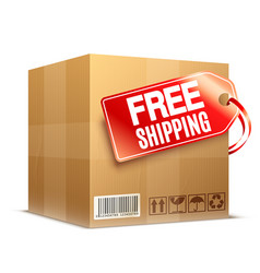 Free shipping cardboard box vector