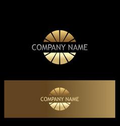 gold round company logo vector image vector image
