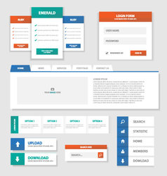 Green Red Blue Multipurpose Website templates set vector image