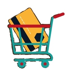 green shopping cart online credit card bank sketch vector image
