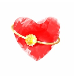 Heart with ring vector image vector image