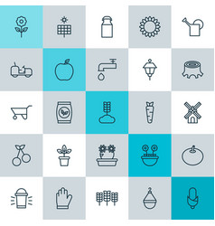 icons set collection of plant seeds wheelbarrow vector image vector image