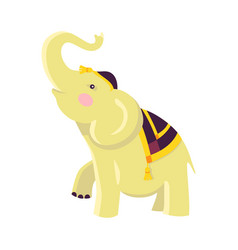 Indian elephant in hat and cloak raises trunk vector