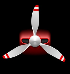 Light airplane with propeller on black vector image
