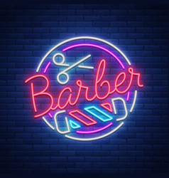 logo a neon sign for a hairdresser and barbershop vector image