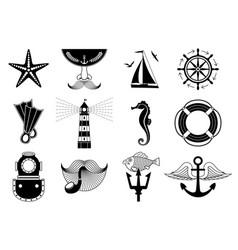 marine icons set vector image vector image