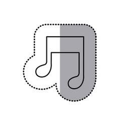 Monochrome contour sticker of musical note vector