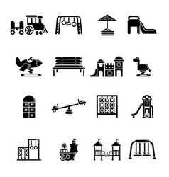 Playground equipment icons set simple style vector